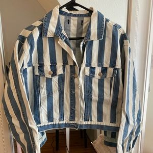 White and Blue striped denim jacket